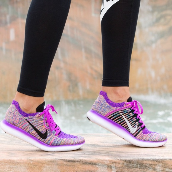 violación Gárgaras Divertidísimo  Nike Shoes | Nike Free Rn Flyknit Purple Multi Sz 75 | Poshmark